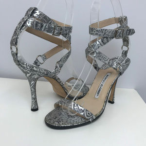 Manolo Blahnik Embossed Silver Sandals SZ 37 1/2